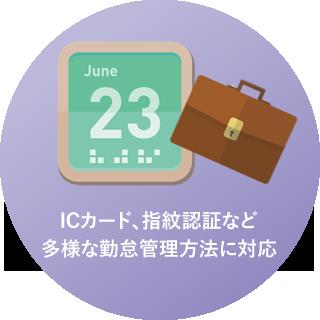 ICカード、指紋認証など多様な勤怠管理方法に対応